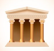Front view of an antique greek gold temple. Vector