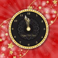 Clock for new year over golden snowflake background