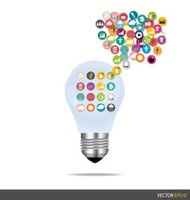 Bulb with cloud of colorful application. Vector illustration.