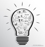 Light bulb with elements of infographics and graph.