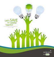 Hands and green ecology light bulb. Vector illustration.