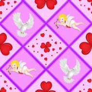 Pattern with cupid and pigeon