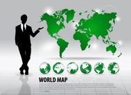 Businessman showing world map and modern green globes