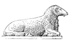 Antique illustration of ram headed sphinx