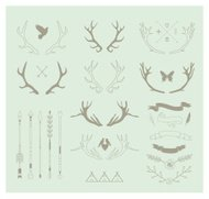Antlers, arrows, ribbons. IDecor elements. Isolated.Vector