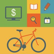 Business icons and bicycle