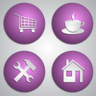 Vector set of round lilac site icons with paper cut