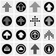 Arrow vector icons set on gray