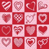 Set of red and pink grunge heart icons.