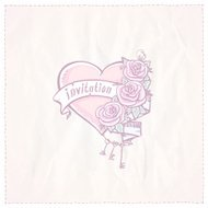 Wedding invitation card with  heart, roses and ribbon.