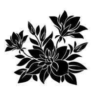 Black silhouette of flowers. Vector illustration.