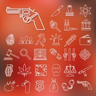 crime and justice outline icons