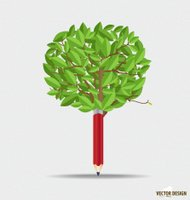 Wooden pencil with leaf. Vector illustration.