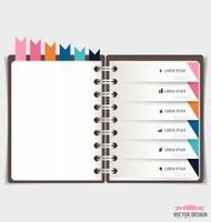 Modern Design template of notebook with ribbons, infographics ba