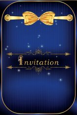 Blue invitation card vector illustration for print