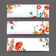 Set of three nature vector banners with floral element