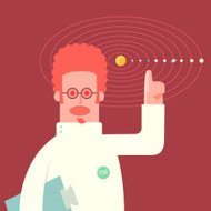 You are here... scientist pointing at a planet diagram