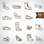 Different shoes icon set, vector illustration