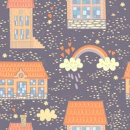 Seamless colorful pattern with cute houses
