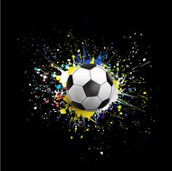 soccer ball dash on colorful & grunge texture isolate background