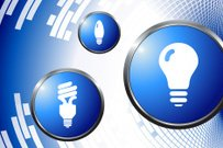 Light Bulb royalty free vector art on abstract Background