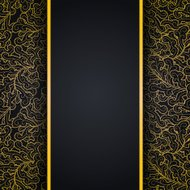 Elegant black background with gold lace ornament