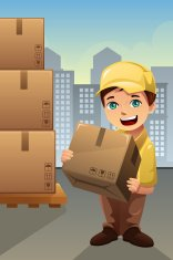 Delivery man in the city