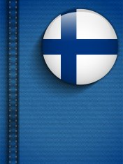 Finland Flag Button in Jeans Pocket