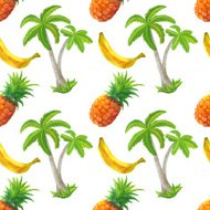 Watercolor seamless pattern with coconut palm trees, pineapples,