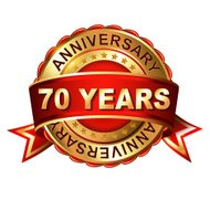 70 years anniversary golden label with ribbon.