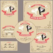 Wedding design  template set.Cartoon wedding hearts ,floral fram
