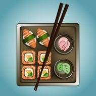 Vector illustration of sushi dish with chopsticks