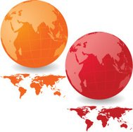 Vibrant Asia Globe Set with Map Series