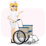 cartoon nurse with wheelchair