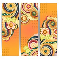 Ethnic Indian Pattern Cards With Paisley, Doodles and Cucumbers.