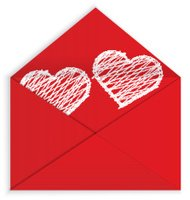 Heart white crayon inside envelope vector