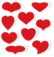 Hearts stickers vector