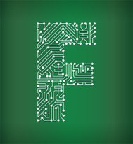 Letter F Circuit Board royalty free vector art background