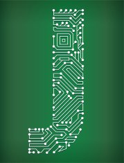 Letter J Circuit Board royalty free vector art background