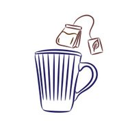 Blue Coffee Mug and Teabag with String Line Drawing