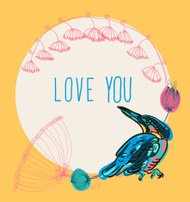 Vintage vector card spring love you