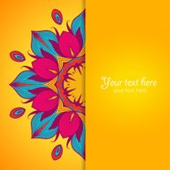 Template of greeting card with flower.