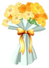 Boquet of flowers with a ribbon