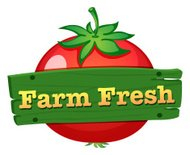Farm fresh label design with a fresh tomato