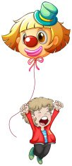 Happy young man holding a clown balloon