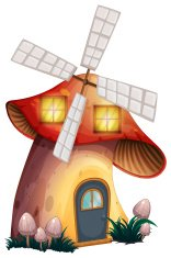Mushroom house with a windmill