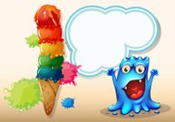 Cheerful blue monster near the colorful giant icecream