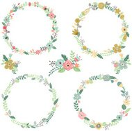 Vintage Flowers Wreath  Elements- illustration