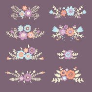 Set of floral compositions, vector illustration