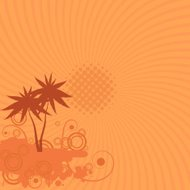 Vector background with palm trees, sun and swirls